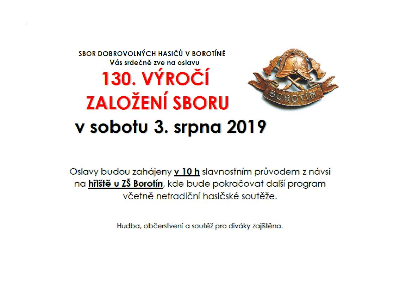 Pozvánka na oslavy SDH Borotín